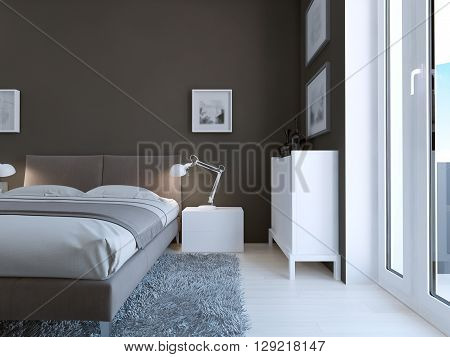 High-tech bedroom design. Accurate and very elegant bed and made of white plastic cabinet and console in bedroom with taupe walls and thick pile carpet grey color. 3D render