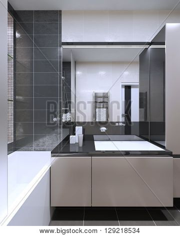 Bathroom contemporary style with large mirror with neon lamps peach puff furniture with anthracite color decoration. 3D render