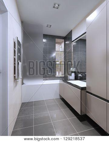 Modern bathroom design. Matt furniture shower combined with a bath. Mixed wet asphalt and beige tile on walls and floor. 3D render