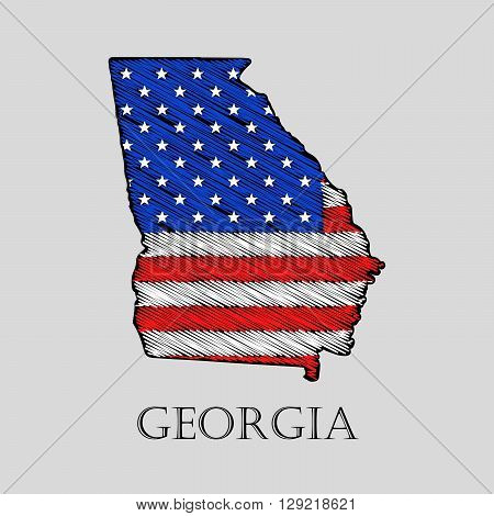 State Georgia in scribble style - vector illustration. Abstract flat map of Georgia with the imposition of US flag.