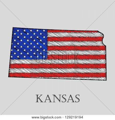 State Kansas in scribble style - vector illustration. Abstract flat map of Kansas with the imposition of US flag.