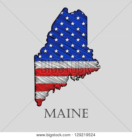 State Maine in scribble style - vector illustration. Abstract flat map of Maine with the imposition of US flag.