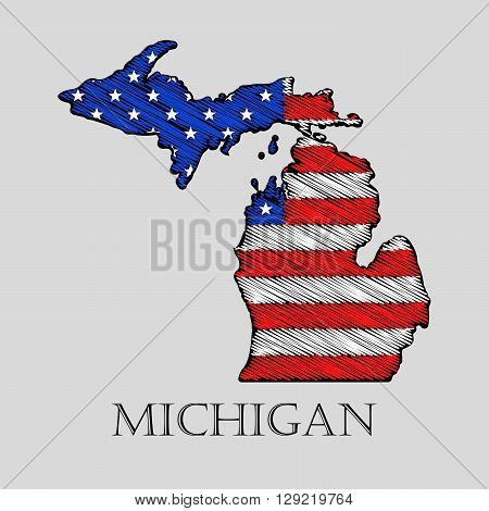 State Michigan in scribble style - vector illustration. Abstract flat map of Michigan with the imposition of US flag.