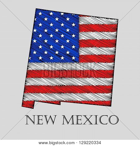 State New Mexico in scribble style - vector illustration. Abstract flat map of New Mexico with the imposition of US flag.
