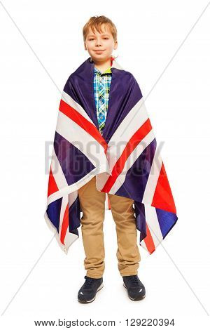 English teen posing whole-length wrapped in the flag, isolated on white background