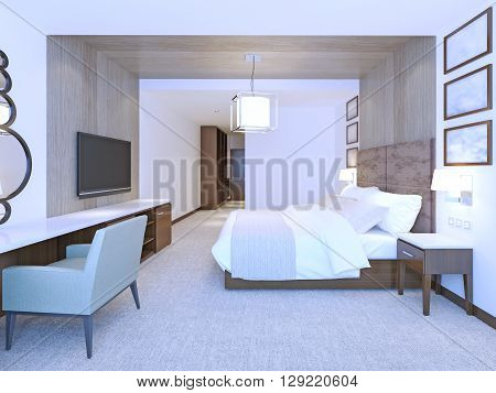 Idea of modern master bedroom. Large double bed with suede leather headboard. 3D render