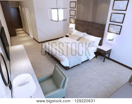 Contemporary hotel room trend. Minimalist interior of room with double bed dressing table and tv. 3D render