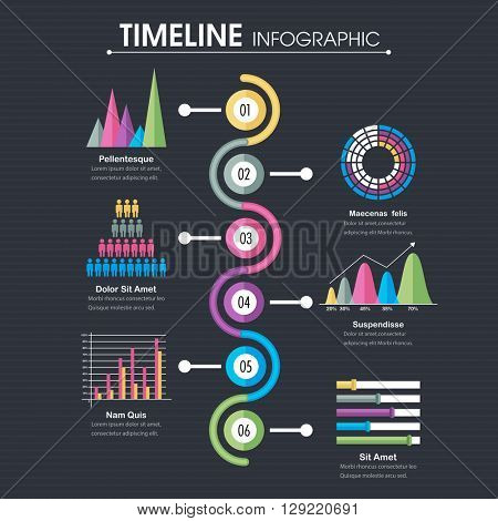 Professional Timeline Infographic template with statistical graphs and charts.