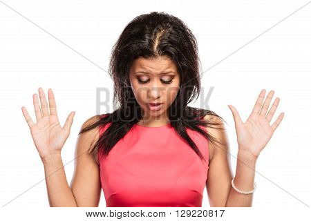 Disappointed sad mixed race african woman girl fed up with something isolated on white.