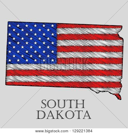 State South Dakota in scribble style - vector illustration. Abstract flat map of South Dakota with the imposition of US flag.