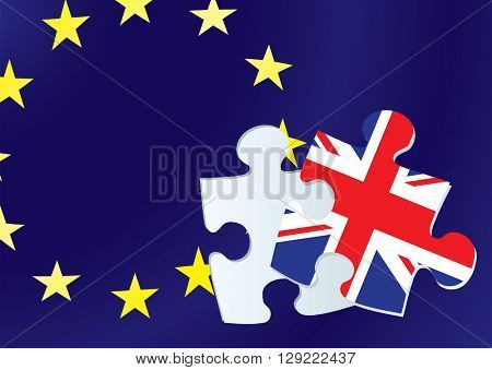 British exit from the european union with flags from europe and Britain