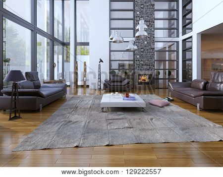 Living room loft style. Panoramic two-story windows and white walls are perfectly combined. Lether sofa with floor lamp white low table for tea. multi-level architecture of the living room. Cozy fireplace with grey colored stone chimney. 3D render