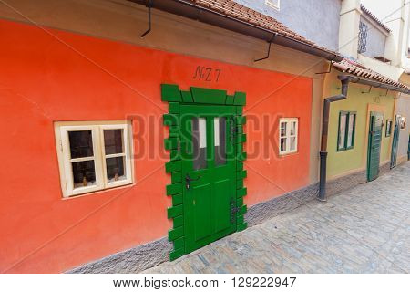 PRAGUE, CZECH REPUBLIC - APRIL 28, 2016: Golden Lane, Czech Zlata Ulicka is a very popular tourist attraction thanks to its legends as if 16th century alchemists worked here. Franz Kafka lived here