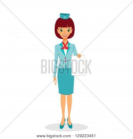 Cartoon flight attendant in uniform holding blank sheet of paper vector illustration professional occupation character. Isolated on white background