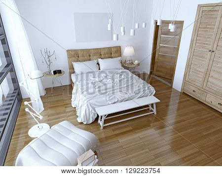 Modern bedroom with brown bed and white wall. Spacious room with a balcony and floor-to-ceiling windows. 3D render