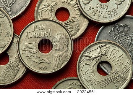 Coins of Spain. King Juan Carlos I of Spain depicted in the Spanish 25 peseta coin (1993).