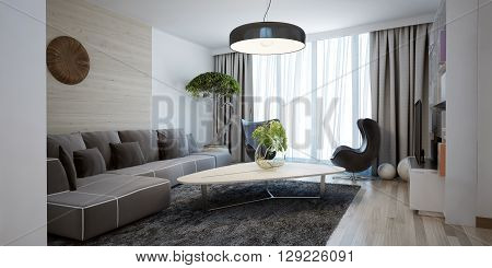 Bright spacious design of modern lounge. The minimalist interior is a beautiful spacious living room. Hidden cornices look beautiful with floor to ceiling windows. 3D render poster