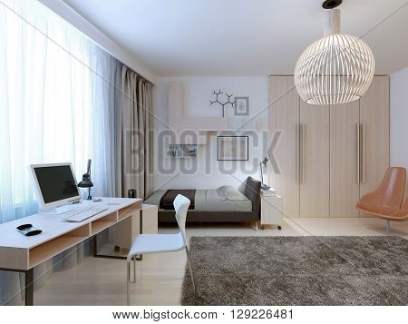 Spacious modern bedroom trend. Nice bright room for a teenager with a work area. Wardrobe semi-embedded in the wall giving more space to implement their ideas. 3D render