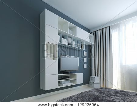 Living room with wall cabinet trend . White wall cabinets and LCD TV near a window. Wall painted in navy color. Gray woolen carpet. 3D render