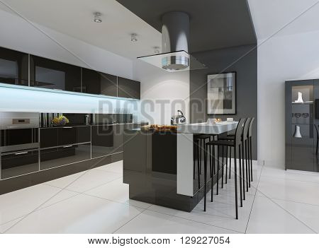 Idea of minimalist kitchen . Modern kitchen with an undermount sink flat-panel cabinets black tone cabinets and paneled appliances. 3D render