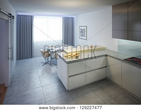 Modern kitchen design. Interior of modern kitchen with white walls and tiled flooring with cream colored slab kitchen bar. Work surface made of a gray marble. 3D render