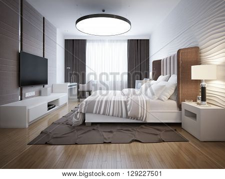 Bright design of contemporary bedroom. Bedroom with white furniture light wood parquet floor. Beautiful decorative walls and large windows with black curtains. 3D render