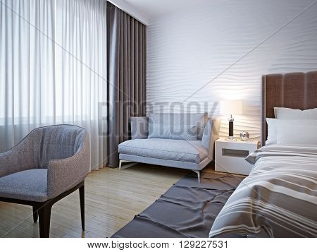 Idea of contemporary bedroom design. This room plays off a white backdrop against textures and soft grey furniture. Add the wavy plaster wall and the room is made for sweet dreams. 3D render