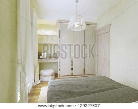 Design of small modern bedroom. Interior of room with dressign table wardrobe ottoman in light colors. 3D render