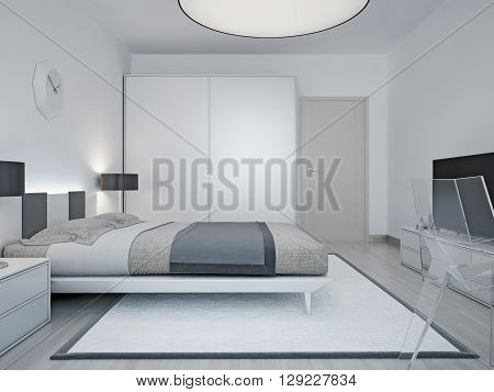 Modern hotel room design. Room with luxury bed black lamp wardrobe with sliding door and a large round lamp on the ceiling. 3D render