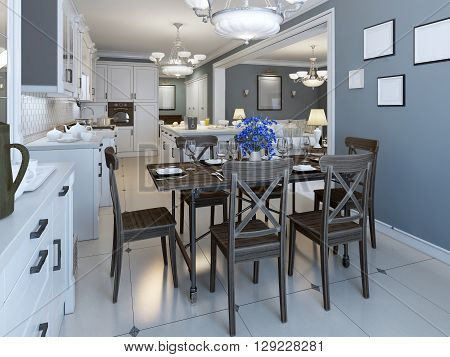 Mediterranean dining room with kithen on background. Navy walls and glossy marble floor. Served table for six person. 3D render