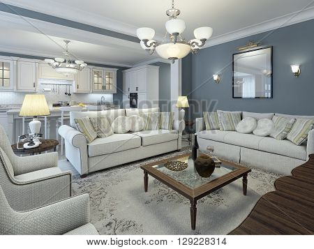 Lounge room mediterranean style. Low table in center made of dark wood with glass. Soft white sofas with pillows and white walls. That's what you need. 3D render