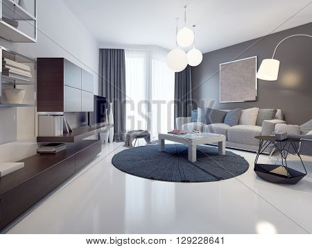 Idea of contemporary living room. White and grey walls polished and varnish white concrete flooring. Floor-to-ceiling panoramic windows. 3D render