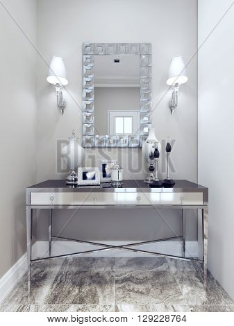 Design of classic hall. Mirror with decorative frame wall console marble floor tiles. White and beige walls. 3D render