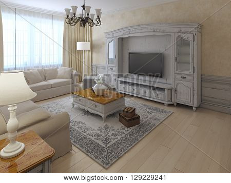 Shabby-chil interior of lounge in soft cream and beige colors. Spacy room with classic-styled wall system ecru plastered walls light wooden flooring. 3D render