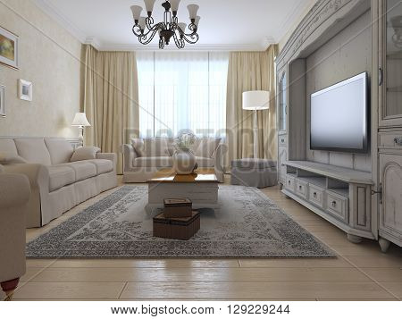 Living room country style. Bright interior of room with large window exclusive wall system and soft furniture. 3D render