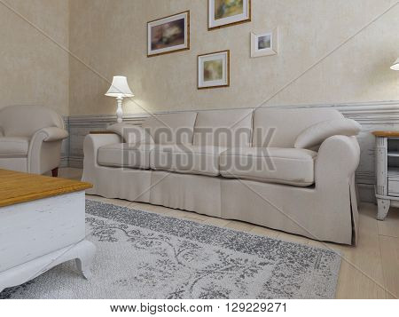 Shabby-chic interior of living. Ecru interior concept with cream furniture and frames on a wall. 3D render