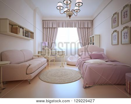 Teenagers bedroom with sofa and bed. Light pink colors spacy room with large window and elegant curtains. 3D render