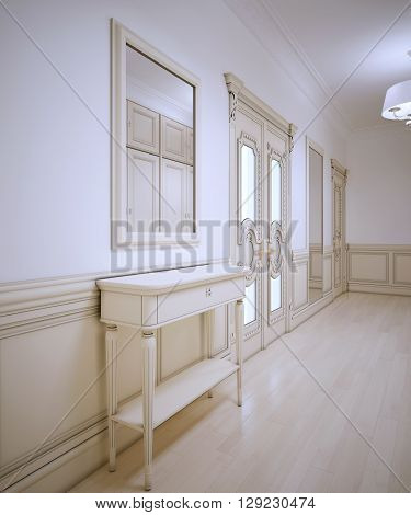 Idea of provence hallway with white walls and light wood parquet flooring. 3D render