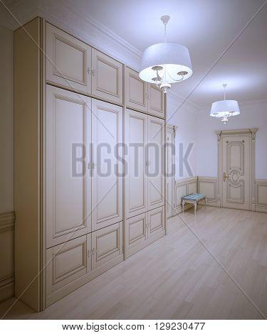 Art deco hallway trend. Large wardrobe and bench. Cream colored interior. 3D render