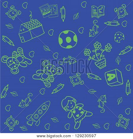 Toy doodle art for kids with blue backgrounds a funny