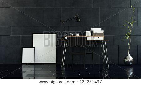 3D render of pair of picture frames on floor beside table in room with slick dark marble tiles. 3d Rendering.