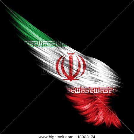 Abstract Wing With Iranian Flag On Black Background
