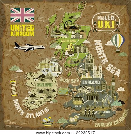 attractive United Kingdom travel map with famous attractions