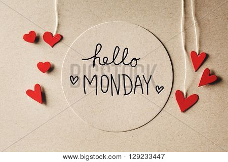 Hello Monday Message With Small Hearts