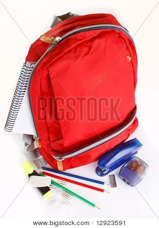 A red school backpack with school supplies