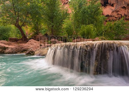 The incredible scenery at Havasu Falls after a long hot hike through the desert of Arizona