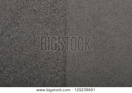 Close up of black polystyrene textured foam background