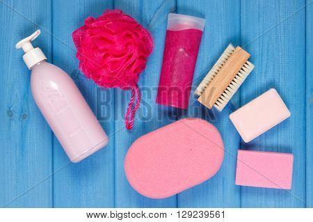 Cosmetics and accessories for personal hygiene in bathroom soap body scrub sponge bath puff brush pumice concept of body care