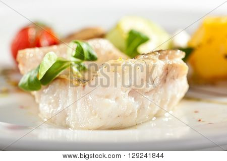 Halibut Steak with Vegetables and Sauce