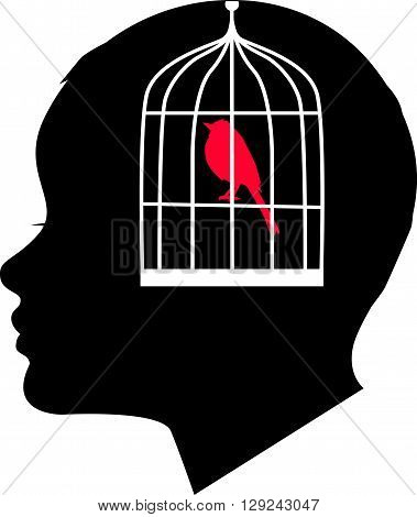 Autism. A profile of a child's head merged with a silhouette of a bird entrapped in a cage